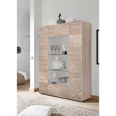 LC Miro vitrinekast, hoogte 166 cm met decoratieve zeefdruk
