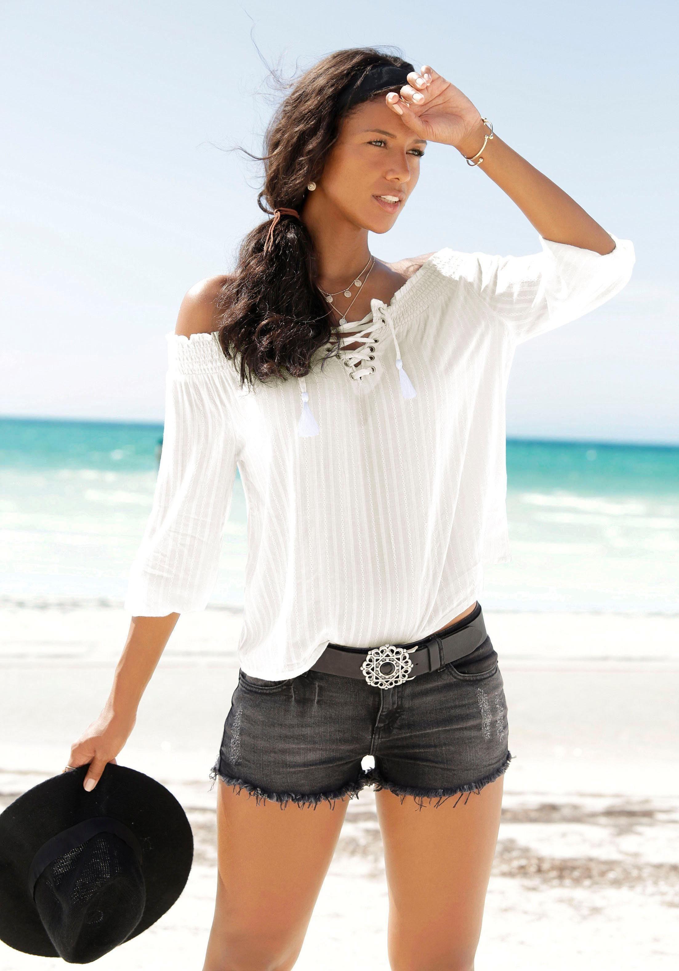 blouse met carmenhals