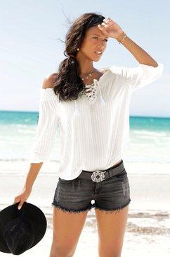 lascana blouse met carmenhals beige