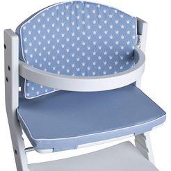 tissi kinder-zitkussen kronen blauw voor tissi kinderstoel; made in europe blauw