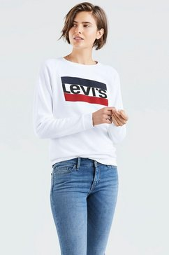 levi's sweatshirt relaxed graphic crew met sportprint op borsthoogte wit