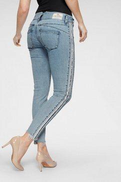 herrlicher 7-8 jeans »pearl slim stripe cropped« blauw
