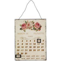 ambiente haus metalen bordje metalen artprint kalender - rozen 25x33cm (1 stuk) multicolor