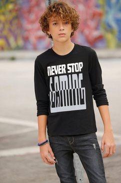 arizona shirt met lange mouwen »never stop...« schwarz
