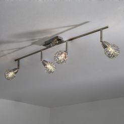 spot light plafondlamp easyfix ledverlichting geïntegreerd, flexibele armen, beweegbare koppen, lamp van metaal. zilver