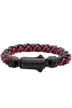 seven-24 armband »seven-24,ms,armband,stahl schwarz,leder blau-rot,m-l, svms015-m, svms015-l« rood