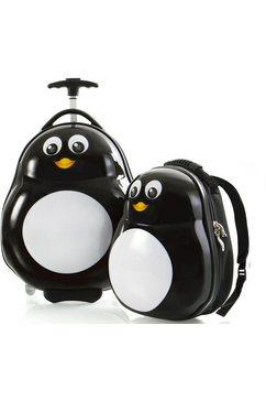 heys kinderkoffer »travel tots, 46 cm, pinguin« zwart