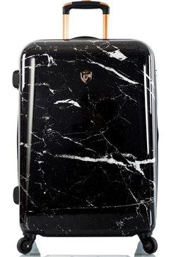 heys hardshell-trolley »marquina, 66 cm, schwarzer marmor« zwart