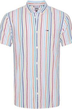tommy jeans overhemd met korte mouwen »tjm shortsleeve stripe shirt« wit