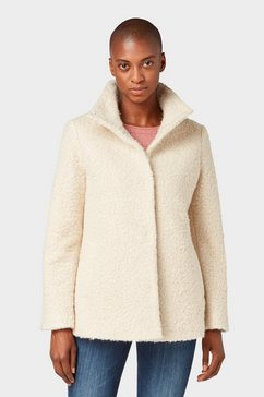 tom tailor jack van imitatiebont »mantel mit stehkragen« beige