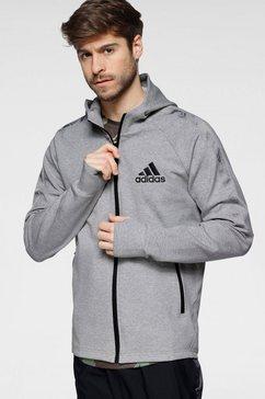 adidas capuchonsweatvest adidas men designed 2 move motion full-zip hoodie grijs