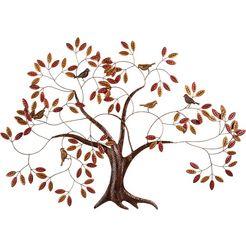 home affaire sierobject voor aan de wand boom wanddecoratie, wanddecoratie, van metaal bruin