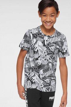puma t-shirt »alpha alloverprint tee boy« wit