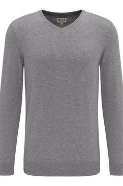 mustang trui met v-hals basic v-hals jumper grijs