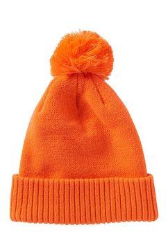 tom tailor denim gebreide muts »beanie mit bommel« oranje