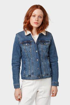 tom tailor denim jeansjack »jeansjack met sherpa-rand« blauw