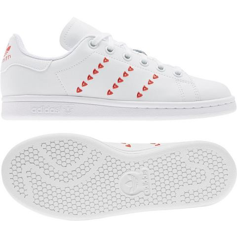 adidas Originals Stan Smith J sneakers wit-rood