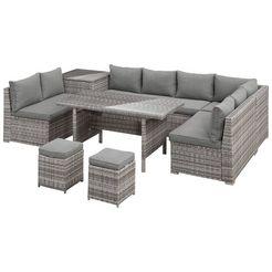 konifera loungeset »kalamos«, 23 delig, 3-zitsbank, 2x 2-zitsbank, hoekbank, 2 hockers, 2 tafels grijs