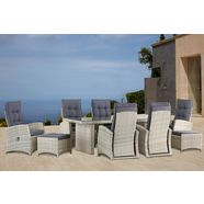 konifera tuinmeubelset »monaco« 17-delig, 6 fauteuils, 2 hockers, tafel, poly-rotan grijs