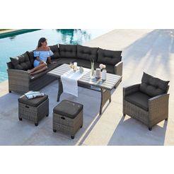 konifera loungeset »keros premium« 20 delig, hoeksalon, 2 hockers, fauteuils, tafel, poly-rotan grijs