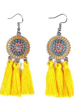 j.jayz oorhangers »rundes design mit ornamenten und quasten« geel