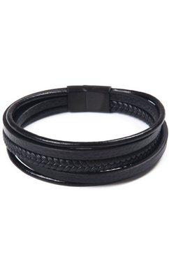 j.jayz leren armband »im maskulinen design, mehrreihig, teilweise geflochten« schwarz