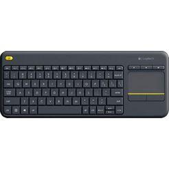 logitech »wireless touch keyboard k400 plus« toetsenbord grijs