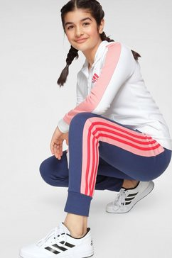 adidas performance joggingpak »joung girl hood cotton tracksuit« blauw