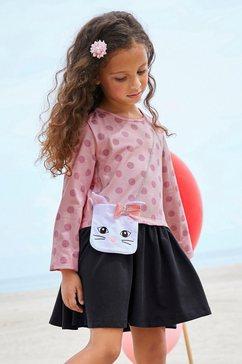 kidsworld jerseyjurk met geappliqueerd glitterband en zakje roze