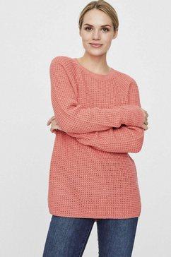 vero moda trui met ronde hals »vmleanna« roze