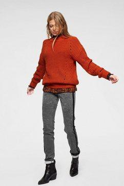 aniston casual trui met staande kraag mix van motieven oranje