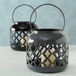 boltze lantaarn mahdia (set, 2 stuks) zwart