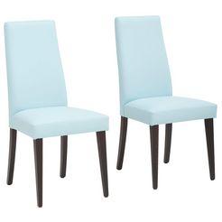 my home stoel mary poten naar keuze naturel-beuken of wengékleur, in een set van 2 (set, 2 stuks) blauw