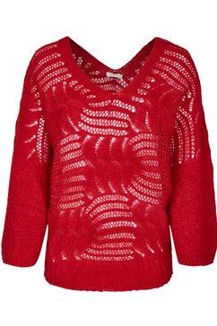 heimatliebe oversized trui in haak-look rood