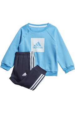 adidas performance joggingpak »3 stripes logo jogger fleece« (set, 2 tlg.) blauw