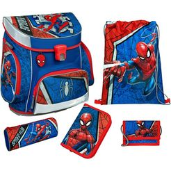 scooli schooltas »campus fit pro, spider-man« (set, 5 tlg.) blauw