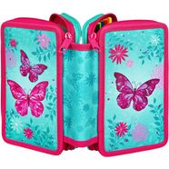 scooli etui triple decker, butterfly gevuld, inclusief set vierkant blauw