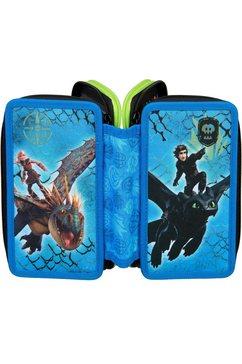 scooli etui triple decker, dragons gevuld, inclusief set vierkant blauw