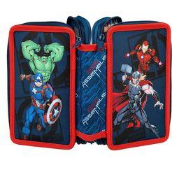 scooli etui triple decker, avengers gevuld, inclusief set vierkant blauw