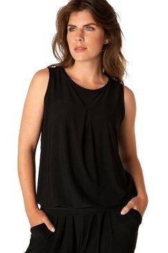 bsic by yest shirttop yalis met ingewerkte flatteuze plooien bij de zoom zwart