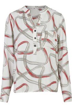 heimatliebe blouse met lange mouwen en aquarelprint wit