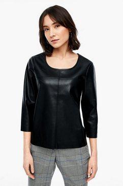 s.oliver nep lederen blouse zwart