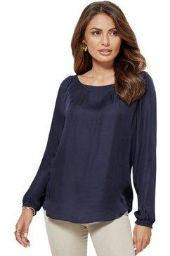creation l blouse van glanzend, stijlvol changerend satijn paars