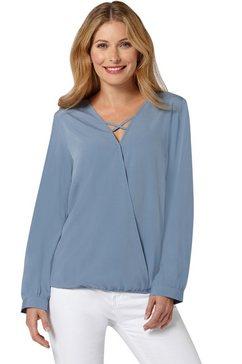 classic inspirationen blouse met gekruiste bandjes bij de hals blauw