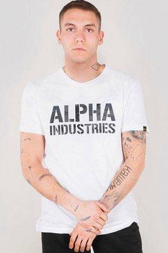 alpha industries shirt met ronde hals »camo print t« wit