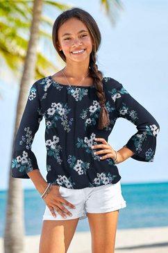 arizona shirt met 3-4-mouwen met bloemmotief blauw