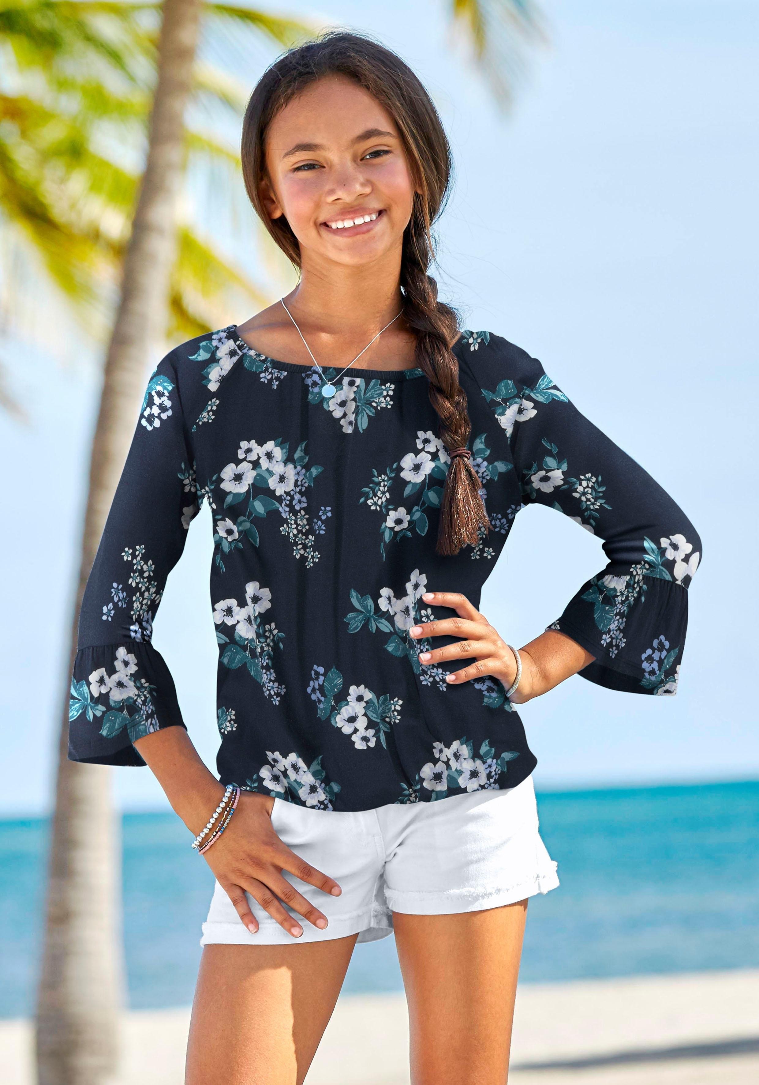 Arizona shirt met 3/4-mouwen met bloemmotief voordelig en veilig online kopen