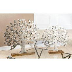 gilde deco-object levensboom op houten voet hoogte 46 cm, van metaal, voet van hout, woonkamer (1 stuk) zilver