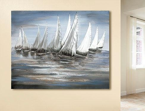 GILDE artprint op linnen Schilderij stormy regatta met de hand geschilderde artprint, 100x80 cm, motief zeilboten, maritiem, woonkamer (1 stuk) - verschillende betaalmethodes