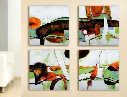 GILDE artprint op linnen Vierdelig schilderij met de hand geschilderde artprint, 240x60 cm, woonkamer (set, 4 stuks) bij OTTO online kopen